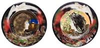 a pair of portrait plates by carl auvera