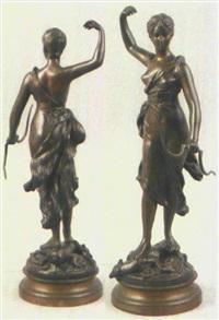 auf einem erlegtem reh stehende diana, göttin der jagd, in der linken hand ihren bogen haltend by jules-clement levasseur