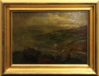 landscape with horse-drawn carriage and woman with umbrella in a storm (2 works) by william cave day