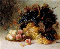 a still life of grapes, peaches and baskets by edouard gabriel francois ampenot