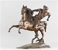 ein kriegerischer indianer mit federschmuck zu pferde by charles lemoine