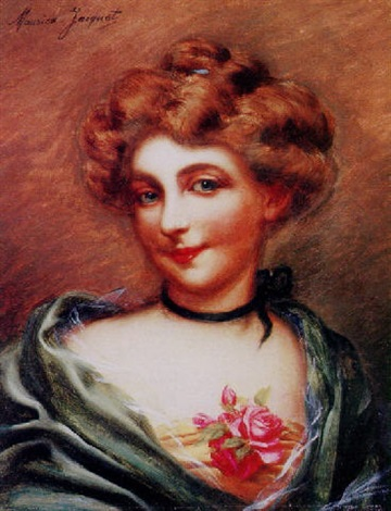 a portrait of a young lady with a rose by maurice jacquet