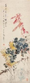 菊有黄华满架秋 立轴 设色纸本 by xu gu