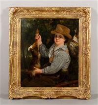 boy holding a rabbit by joseph wright (of derby)