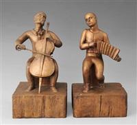 zwei musikanten - cellospieler und ziehharmonikerspieler by ernst kissling