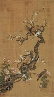 梅花太平鸟 立轴 设色绢本 by jiang tingxi