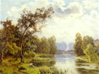 a springtime river landscape by lucien simonnet