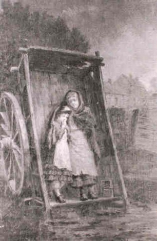 farm children sheltering under a cart by john hodgson campbell