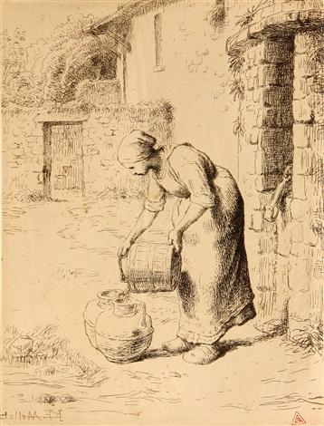 le précaution maternelle; femme vidant un seau (2 works) by jean françois millet