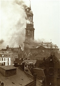 the fire of the st. michaelis church in hamburg (series of 6) by otto reich