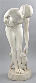 weibliche akt mit zwei katzenjungen in der hand und mit der anderen eine katze streichelnd by nicolaus friedrich