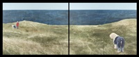 dog walk: coastline (diptych) by alexandra haeseker
