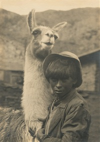 araucano boy with lama (+ la paz landscape; 2 works) by robert m. gerstmann