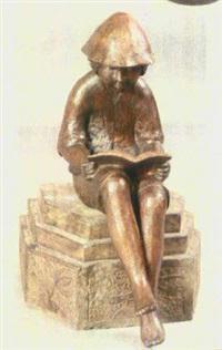 sitzender lesender hirtenjunge mit hut, vertieft in seine lektüre by ladislav hlina