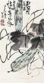 瓜藤 镜心 设色纸本 by li kuchan