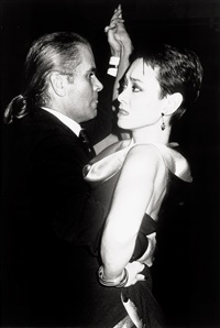 karl lagerfeld dances with tina chow, antonio's party, le privilege, paris by roxanne lowit
