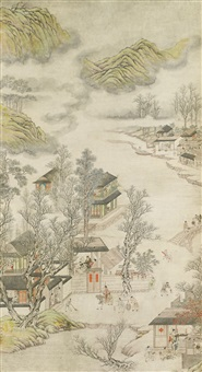 figures in landscape by xu zhi