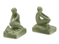 figural bookends (pair) by rookwood pottery