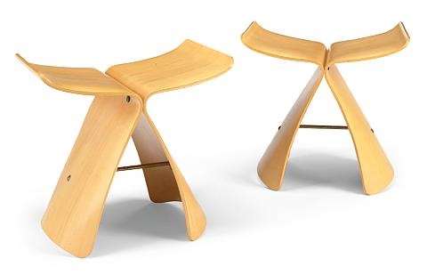 pair of butterfly stools by sori yanagi