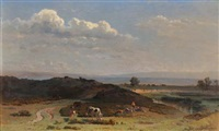 weite landschaft mit weidendem vieh by jacques dunant