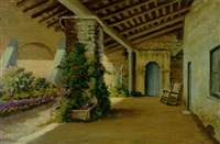 a flower garden off the veranda, monterey by william adam