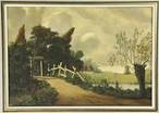 landscape with a gate and trees and a farmstead in the background by elbert hooijberg