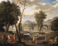 baumbestandene landschaft mit figuren im vordergrund by pierre-etienne lesueur