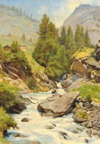 sommerliche gebirgslandschaft mit wildbach by johann-joseph geisser