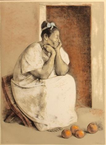 mujer de yucatán con naranjas by francisco zúñiga