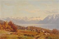 blick von einer anhöhe auf den genfersee und das mont blanc massiv by johann-joseph geisser