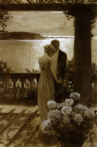 figures on a balcony in moonlight by guy rose