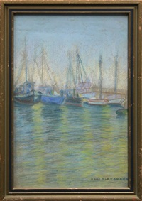 boats in san diego harbor by sara dora block alexander