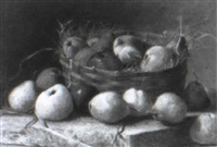 still life of apples and pears in a basket on a ledge by paul fontaine