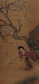 春意图 立轴 设色绢本 by ma shouzhen