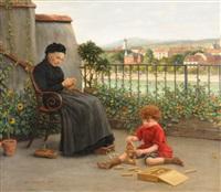 grossmutter mit ihrem spielenden enkel. blick von einer terrasse am rheinsprung auf kleinbasel by albert höflinger