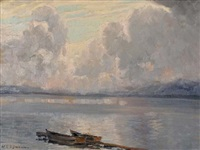 wolken über dem see by wilhelm ludwig lehmann