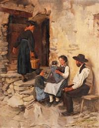 bauernfamilie vor einem haus in savieze by henri van muyden