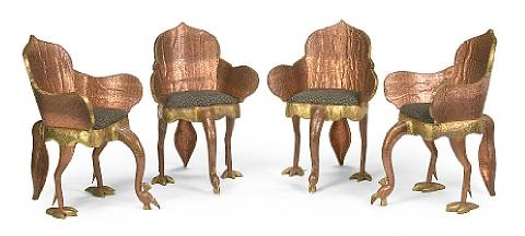 Indian Peacock Chairs (set Of 4) By Tony Duquette