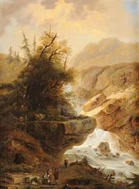gebirgslandschaften mit wildbach und staffage (pair) by david kolliker