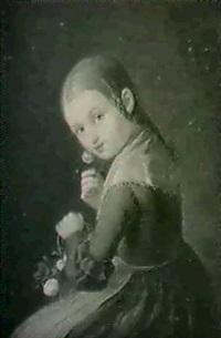 flicka med blommor by lorentz august lindholm