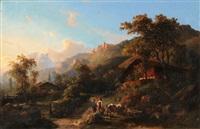 sommerliche landschaft im berner oberland by karl friedrich toeche