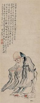 寿星 立轴 水墨纸本 by huang shen