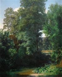 bewaldete bachlandschaft mit kleinem wasserfall by adolf (johann) staebli