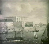 stockholmsmotiv med slottet -                i forgrunden ang- och segelbatar by axel otto morner