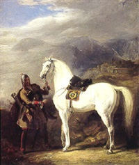 a circassian chief preparing his stallion with a mountainous landscape by sir william allan