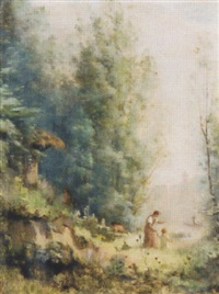 baumbestandene landschaft mit mutter und kind by jules louis badel