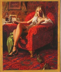 argossy illustration of woman in red chair by louis s. glanzman