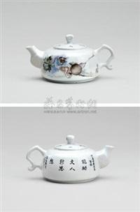 粉彩人物瓷壶 (figural bottle) by tu juting