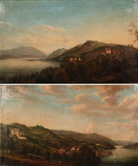 blick von süden auf schloss und ortschaft wädenswil (+ blick von norden auf schloss wädenswil; pair) by hans-rudolf füssli