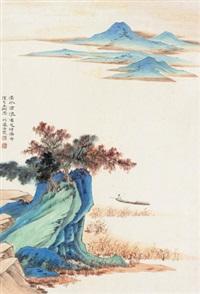 仿前人山水 镜心 设色纸本 by he haixia